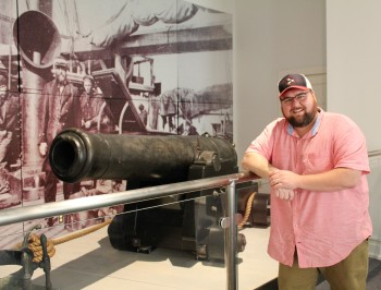 Tour Guide Adam Southern is pictured above with a cannon recovered from the deck of the CSS Alabama. Adam, when not giving tours, is a local historian, author, and Director of the Maury County Public Library System.